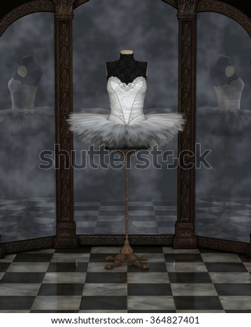 Illustration of a white classical ballet tutu on a stand reflected in a cloudy three panel mirror, 3d digitally rendered illustration
