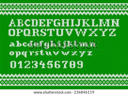 illustration of a white knitting alphabet on green background - stock photo