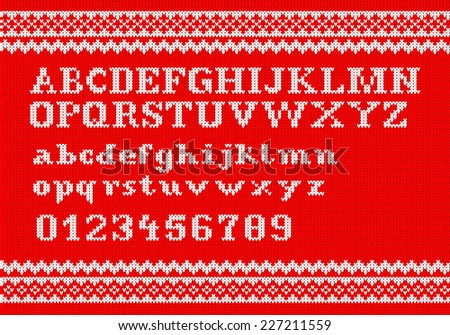 illustration of a white knitting alphabet on red background - stock photo