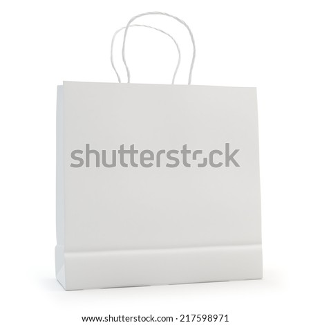 illustration of a white paper bag - stock photo