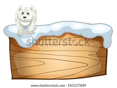 Illustration of a white polar bear above the wooden signboard on a white background - stock photo