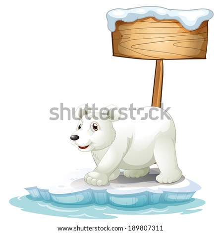 Illustration of a white polar bear below the wooden signboard on a white background - stock photo