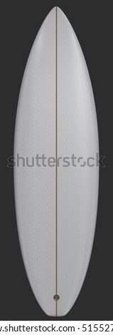Illustration of a white surf board - back view