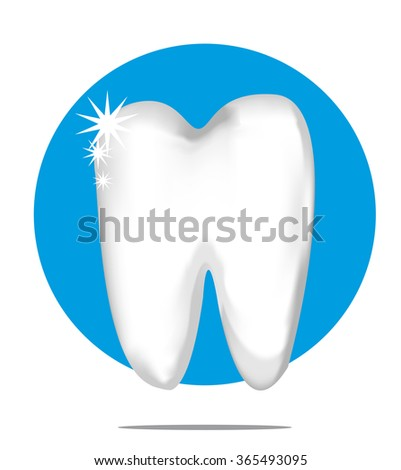 Illustration of a white tooth with blue circle background - stock photo