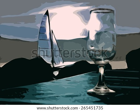 Illustration of a wineglass on a table in an night outdoor scenery, with a sailboat on a lake and a full moon sky in background, referring to concepts such as relaxation, summer and  romantic holidays