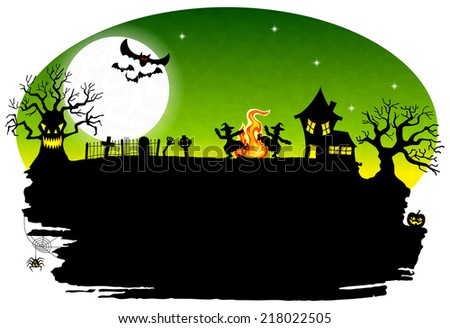 illustration of a witch dancing around the fire at halloween - stock photo