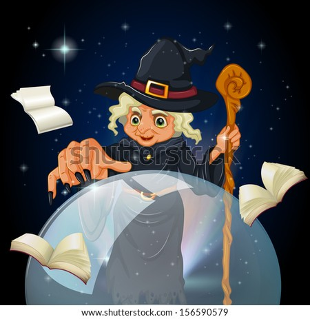 Illustration of a witch doing a spell - stock photo