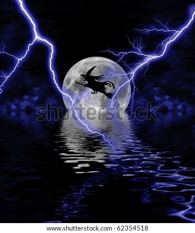 Illustration of a Witch flying under full moon on Halloween night - stock photo