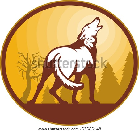 illustration of a Wolf howling at the moon viewed from the rear set inside an oval. - stock photo