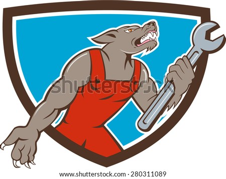 Illustration of a wolf mechanic holding spanner looking up viewed from side set inside shield crest on isolated background done in cartoon style.  - stock photo