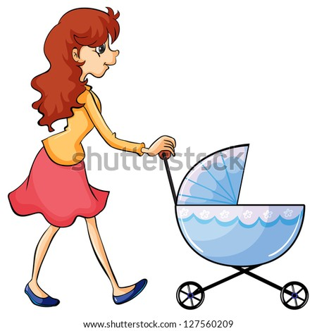 Illustration of a woman and baby buggy on a white background