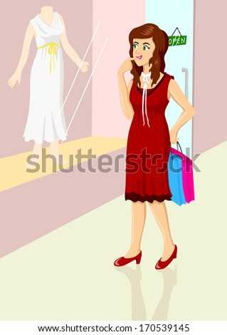 Illustration of a woman are window shopping - stock photo