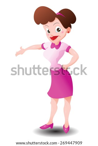 illustration of a woman ask you to come in on isolated white background - stock photo
