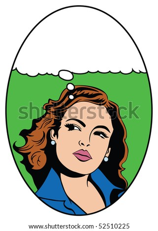 Illustration of a woman in a pop art/comic style - stock photo