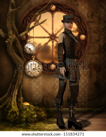 Illustration of a woman in a Steampunk Look - stock photo