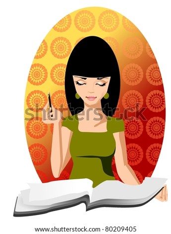 Illustration of a woman receptionist with a notebook. - stock photo