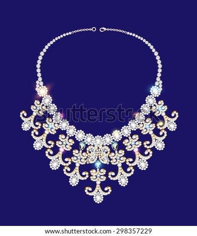 illustration of a woman's necklace with precious stones on blue - stock photo