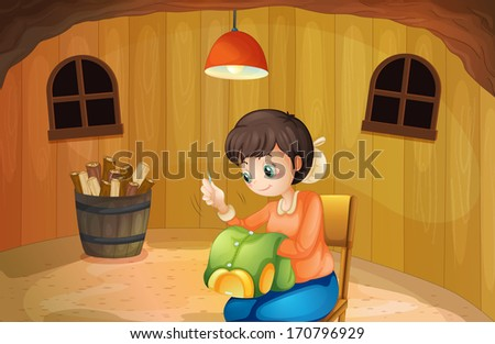 Illustration of a woman sewing inside a wooden house - stock photo