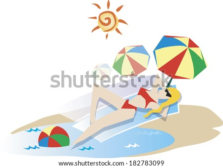 Illustration of a woman sunbathing at the beach - stock photo