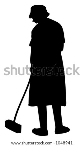 Illustration of a woman sweeping