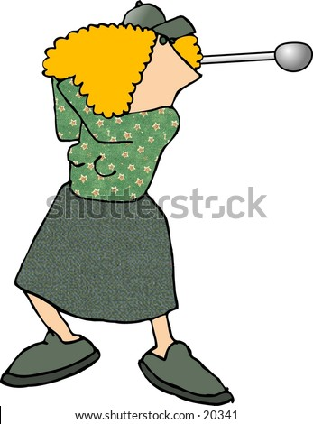 Illustration of a woman swinging a golf club. - stock photo