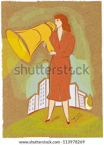Illustration of a woman with a blow horn