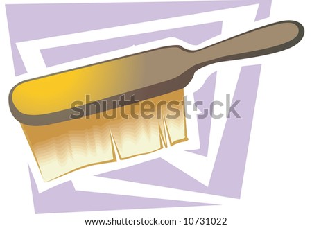 Illustration of a wooden brush with yellow bristles