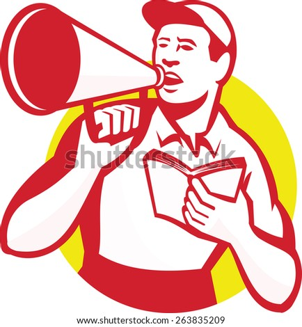 Illustration of a worker with bullhorn and book shouting set inside circle done in retro style. - stock photo