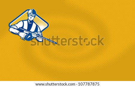 Illustration of a worker with water blaster pressure power washing sprayer spraying set inside diamond shape facing front done in retro style. - stock photo