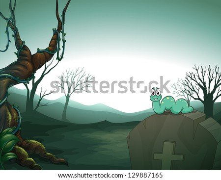 Illustration of a worm at the top of a tomb in the graveyard - stock photo