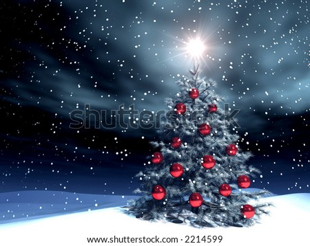 illustration of a xmas tree with red decorations under the snow - stock photo