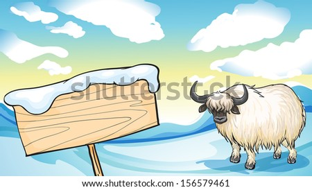 Illustration of a yak in the snow