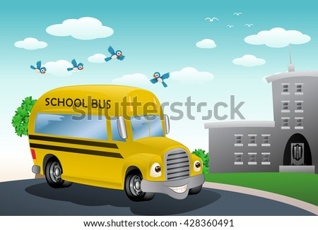 illustration of a yellow bus on school background - stock photo