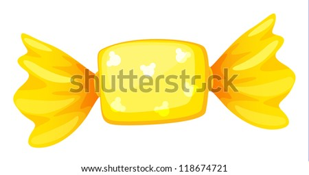 illustration of a yellow candy on white - stock photo
