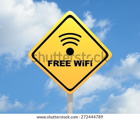 "Illustration of a yellow road sign with the words ""Free WiFi"" - stock photo"