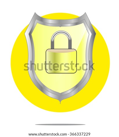 Illustration of a yellow shield with lock with yellow circle background - stock photo
