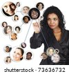 illustration of a young African American businesswoman sorting her social network of friends and clients. - stock photo