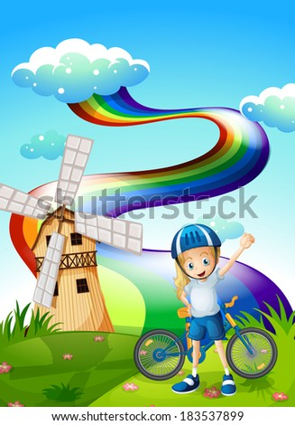 Illustration of a young biker at the hilltop with a windmill and a rainbow