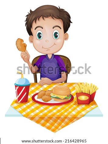 Illustration of a young boy eating in a fastfood restaurant on a white background - stock photo