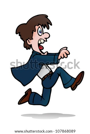 illustration of a young businessman running away from someone on isolated white background - stock photo