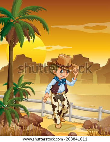 Illustration of a young cowboy at the desert