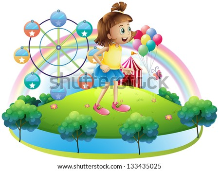 Illustration of a young girl at the amusement park on a white background - stock photo