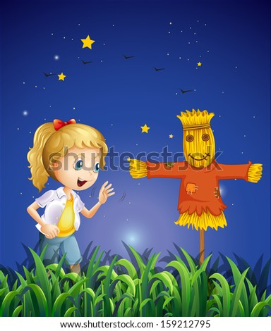 Illustration of a young girl beside the scarecrow