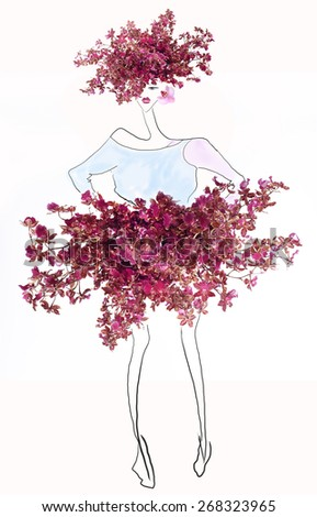 illustration of a young girl in a draw dress with fresh colored flowers - stock photo