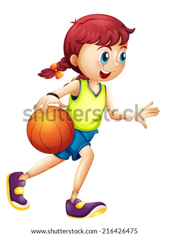 Illustration of a young girl playing basketball on a white background - stock photo