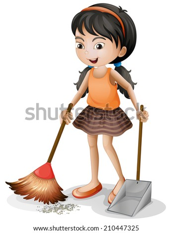 Illustration of a young girl sweeping on a white background - stock photo
