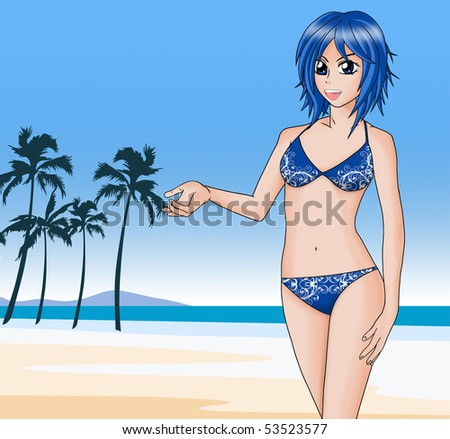 Illustration of a young girl with blue bikini