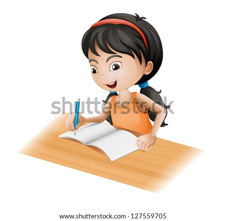 Illustration of a young girl writing on a white background - stock photo