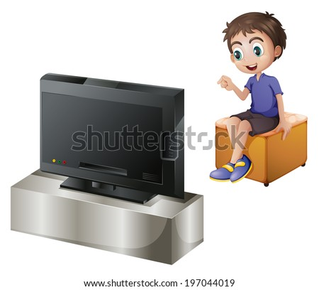 Illustration of a young man watching TV on a white background - stock photo