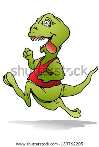 illustration of a young reptile dinosaur run on isolated white background - stock photo